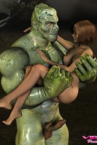 A Delicate 3d Chick Molesting A Giant Green Monster