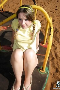 Kitty Shows Off Her Young And Appealing Body As She Flashes Her Panties At The Playground