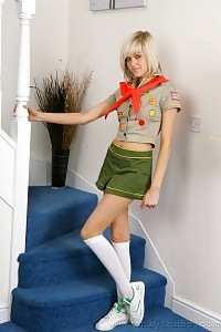 Impressive Blonde Jade B In Elegant School Uniform And Amazing Knee Socks.