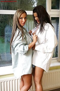 Suntanned Josie And Her Girlfriend Exposes Their Great Bodies In White Lacy Panties