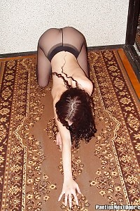 Ashlyn Gets Off Her Long Eveing Dress And Lays On The Floor Wearing Hot Pantyhose