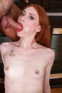 Horny Red-haired Jiggles On Top While Licking A Dildo To Take Deep Anal Fucking From A Big Dick