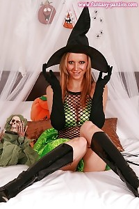 Lydia Demonstrates Her Irresistible Witch Costume And Green Satin Panty