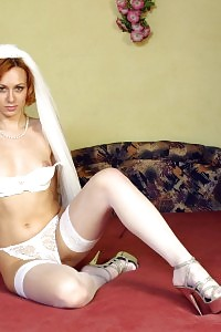 Attractive Ginger Bride In Snow Cool Thong Panties
